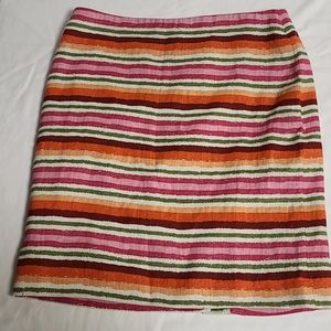 Talbots 8 Petite 100 %Linen striped mini skirt